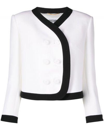 Черный пиджак двубортный с нашивками Moschino