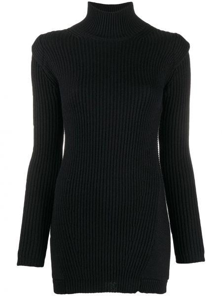 Акриловое прямое приталенное платье в рубчик Dondup
