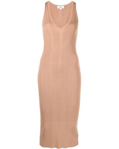 Платье в рубчик - коричневое L'agence