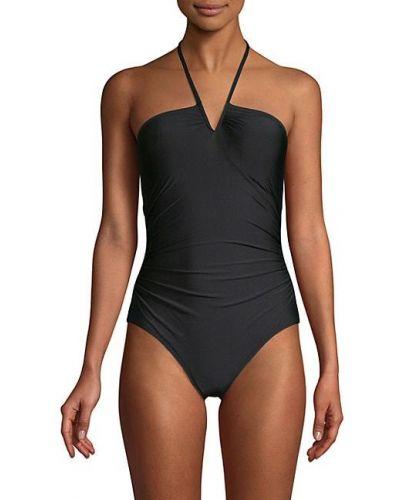 Черный купальник с V-образным вырезом без рукавов Calvin Klein