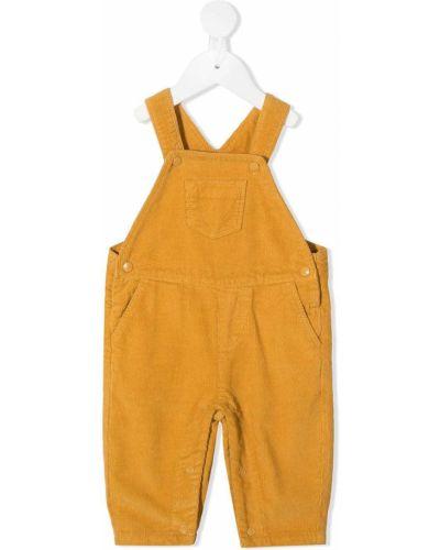 Желтый комбинезон вельветовый с карманами на кнопках Knot