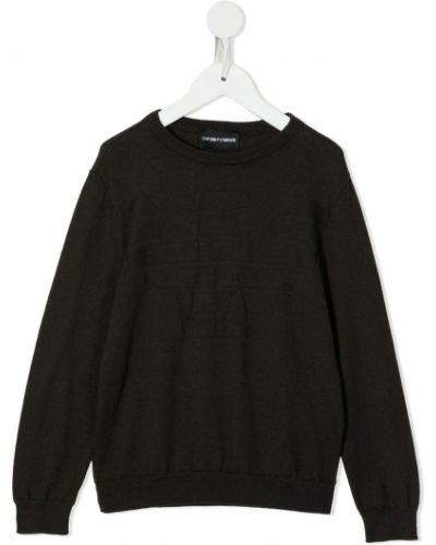 С рукавами черный джемпер с вышивкой Emporio Armani Kids