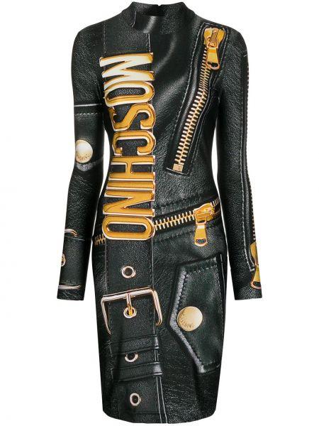 Приталенное кожаное платье макси с длинными рукавами золотое Moschino