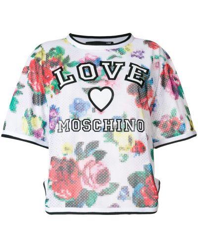 Футболка с цветочным принтом с принтом Love Moschino