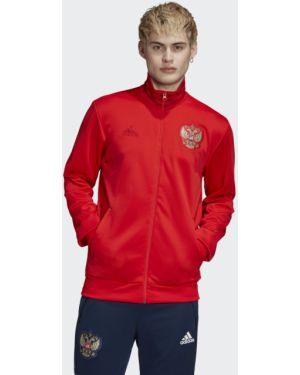 Футбольный спортивный красный костюм с нашивками Adidas