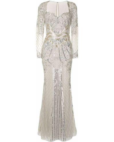 Шелковое платье макси с пайетками прозрачное Zuhair Murad