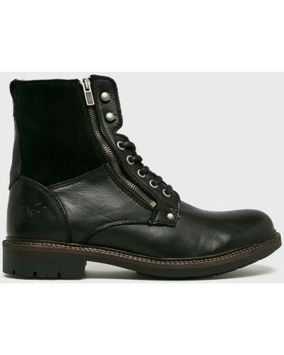 Ботинки на шнуровке кожаные высокие Mustang
