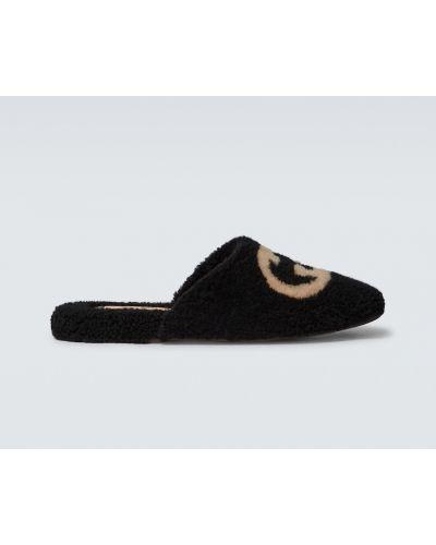 Kapcie wełniane - czarne Gucci