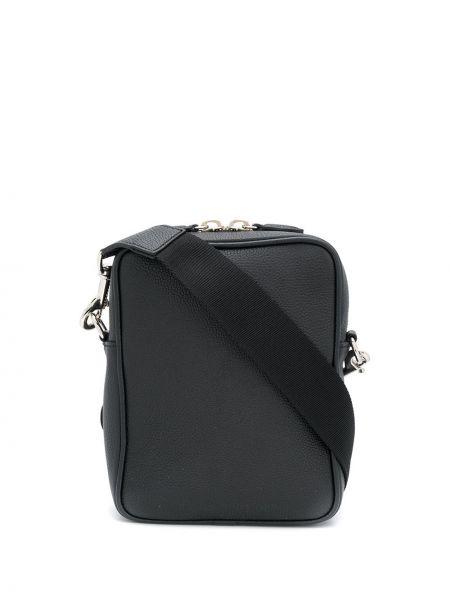 Кожаная черная сумка через плечо квадратная с перьями Mark Cross