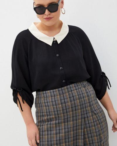 С рукавами черная блузка Silver String