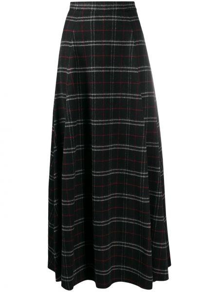 Шерстяная черная расклешенная с завышенной талией юбка макси Woolrich