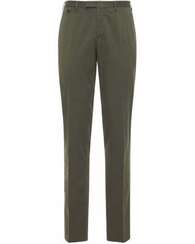 Zielone spodnie bawełniane na koturnie Pantaloni Torino