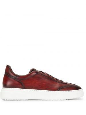 Кожаные красные кеды на шнуровке Magnanni