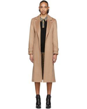 Длинное пальто бежевое без воротника Burberry
