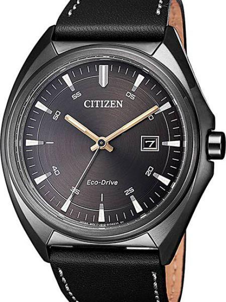 Часы водонепроницаемые с кожаным ремешком Citizen