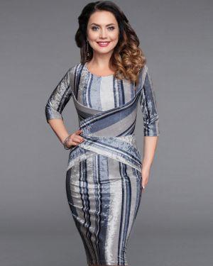 Вечернее платье в полоску велюровое Charutti