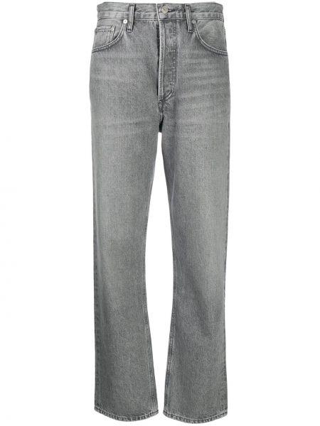 Bawełna bawełna jeansy o prostym kroju z kieszeniami z łatami Agolde