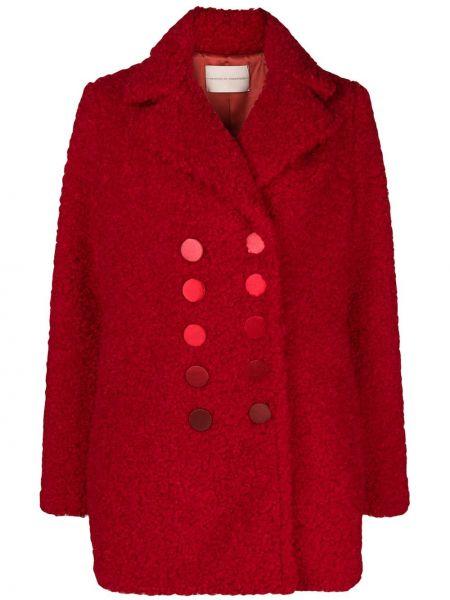 Красное пальто двубортное с воротником Marco De Vincenzo