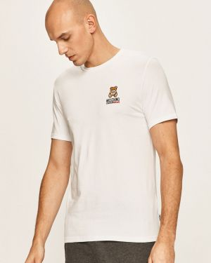 Biały t-shirt bawełniany Moschino Underwear