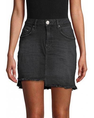Хлопковая черная юбка мини с карманами One Teaspoon