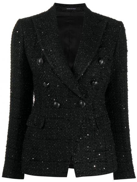 Ватная с рукавами черная длинная куртка Tagliatore