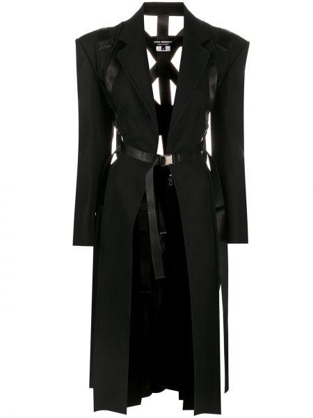 Шерстяное черное длинное пальто с поясом Junya Watanabe