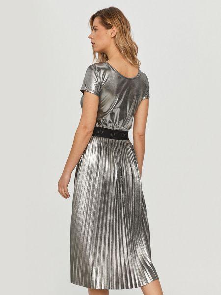 Серое трикотажное платье миди с вырезом Armani Exchange