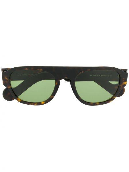 Прямые муслиновые солнцезащитные очки прямоугольные хаки Moncler Eyewear
