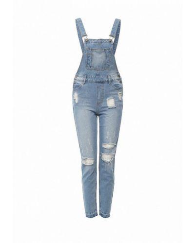 Голубой джинсовый комбинезон Oodji