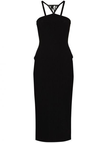 Czarny sukienka midi z wiskozy Christopher Kane