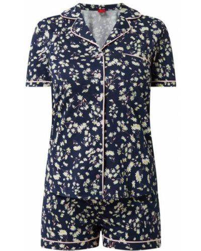 Niebieska piżamy z szortami bawełniana krótki rękaw S.oliver Red Label