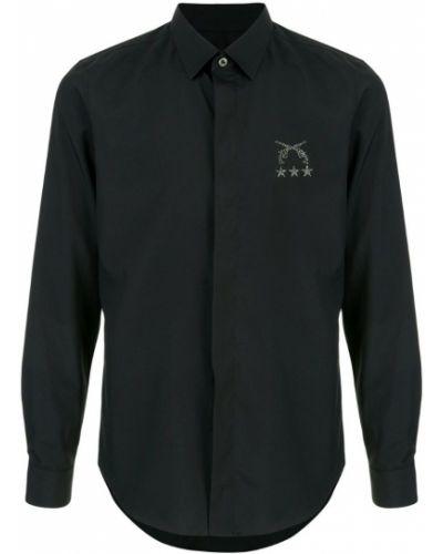 Черная рубашка со стразами на пуговицах Roarguns
