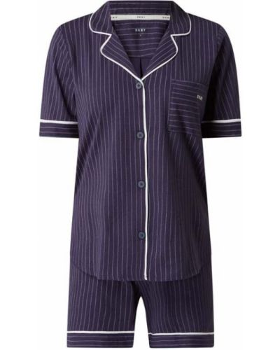 Niebieska piżamy z szortami bawełniana krótki rękaw Dkny