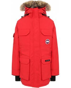 Куртка с капюшоном красная с перьями Canada Goose