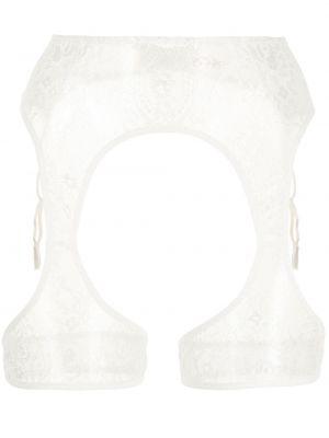 Белые чулки с поясом со вставками Petra