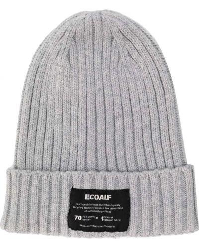 Серая шапка бини в рубчик с нашивками Ecoalf