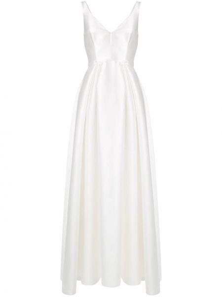 Шелковое пышное белое вечернее платье Alberta Ferretti