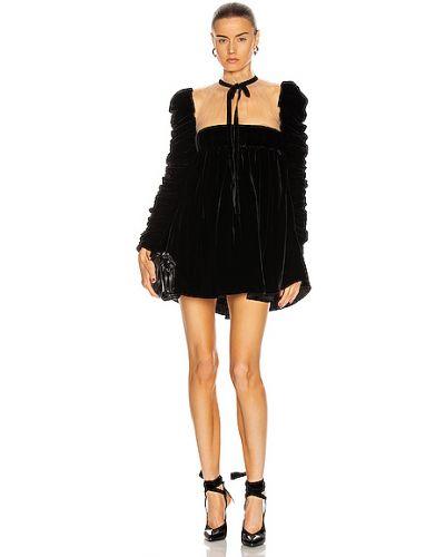 Шелковое черное платье макси с подкладкой Khaite