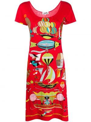 Красное прямое платье мини винтажное с вырезом Hermès