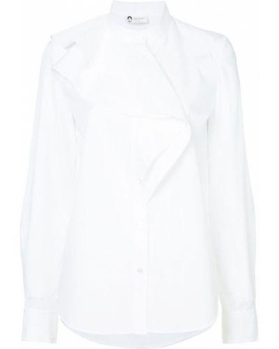 Рубашка с длинным рукавом белая с оборками Lanvin