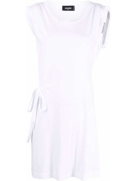 Белое платье с вырезом без рукавов Dsquared2