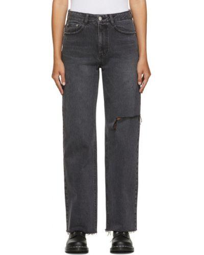 Черные прямые джинсы с манжетами стрейч с заплатками Sjyp