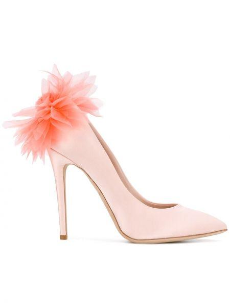 Розовые сатиновые кожаные туфли Olgana