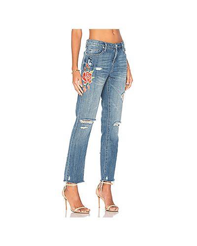 Укороченные джинсы с вышивкой рваные с эффектом потертости [blanknyc]