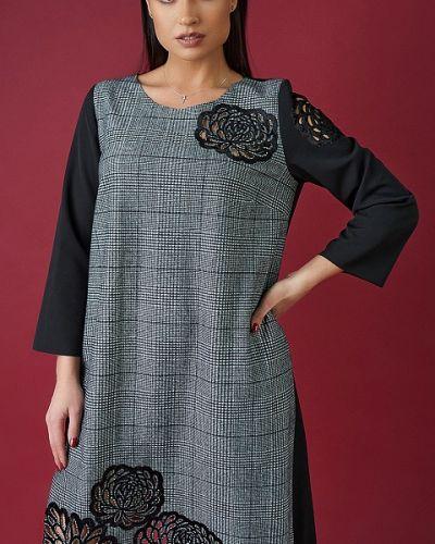 Трикотажное платье миди - серое Likara