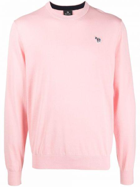 Sweter z haftem - różowy Ps Paul Smith