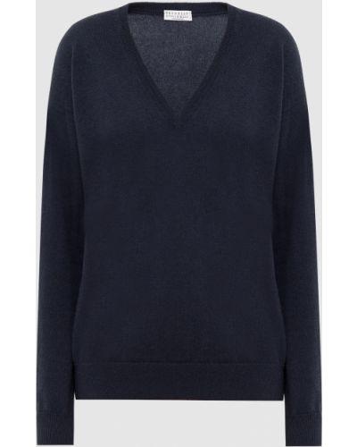Кашемировый синий пуловер Brunello Cucinelli