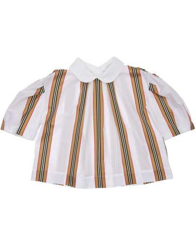 Biała koszula bawełniana w paski Burberry