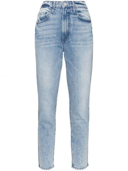 Хлопковые синие прямые джинсы с карманами на пуговицах Jordache