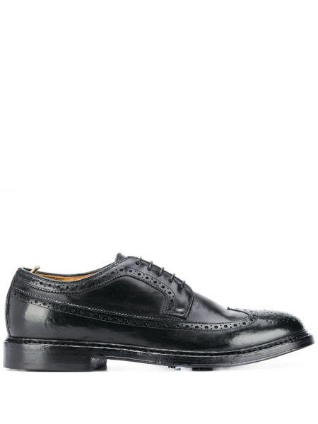 Ażurowy czarny buty brogsy z prawdziwej skóry na sznurowadłach Officine Creative